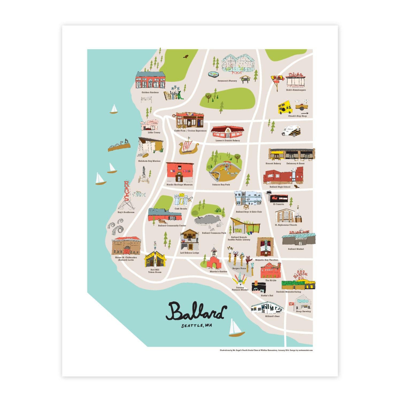 greater ballard: illustrated map | etsy