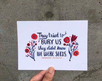 They Tried to Bury Us; They Didn't Know We Were Seeds postcards (set of 20). Watercolor art, illustrated quote by Misha Zadeh