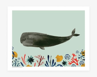 New! Gray Whale and Sea Jewels Giclee Art Print by Misha Zadeh, Watercolor and acrylic ink