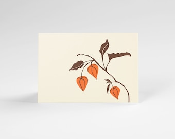 Chinese Lanterns blank letterpress note set