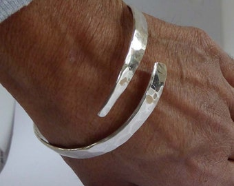 Sterling silver forged bangle hammered finish small medium large