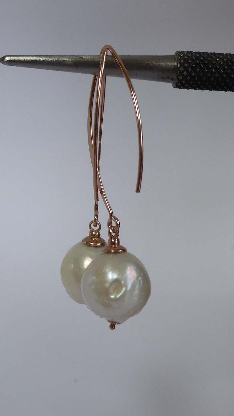 White Baroque freshwater pearl gold vermeil earrings