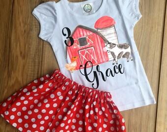 Watercolor Farm Birthday Skirt Set  Barnyard Outfit Farm Shirt