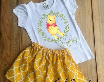f43257ac3bea Personalized Winnie the Pooh Skirt Set - Winnie the Pooh Birthday Dress -  Winnie the Pooh Outfit - Winnie the Pooh Dress