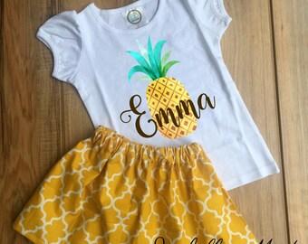 338b04b3dfd4 Personalized Pineapple Skirt Set - Pineapple Birthday Dress - Pineapple  Outfit - Pineapple Dress