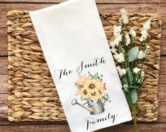 Personalized Sunflower Watering Can Decorative Flour Sack Towel