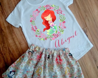 Personalized Ariel Skirt Set - Princess Ariel Birthday Dress - Mermaid Princess Outfit - Princess Dress - Princess Shirt