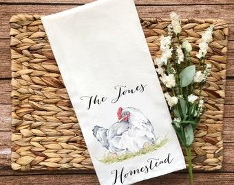 Personalized White Hen Decorative Flour Sack Towel