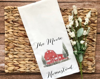 Personalized Red Barn Decorative Flour Sack Towel