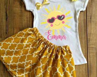 Personalized Sunshine Skirt Set - Sunshine Birthday Dress - Sunshine Outfit - Sunshine Dress