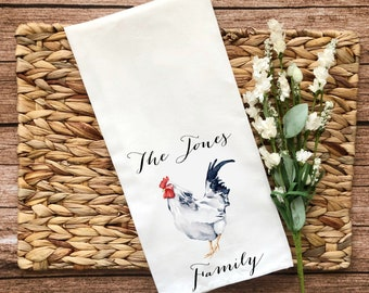 Personalized Rooster Decorative Flour Sack Towel