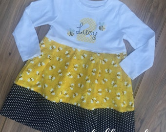 Boutique Personalized Bee Dress - Bee Birthday Dress