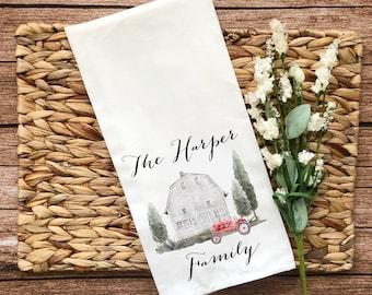 Personalized White Barn Decorative Flour Sack Towel