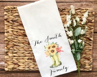 Personalized Flower Boots Decorative Flour Sack Towel