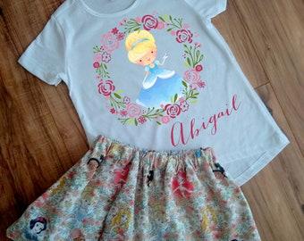 Personalized Cinderella Princess Skirt Set - Princess Cinderella Birthday Dress - Princess Outfit - Princess Dress - Princess Shirt