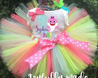 Baby Shark Tutu Set - Baby Shark Birthday Outfit - Baby Shark Dress