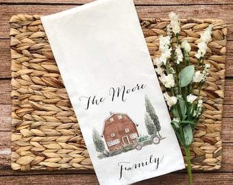 Personalized Brown Barn Decorative Flour Sack Towel