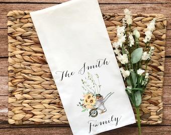 Personalized Sunflower Wheelbarrow Decorative Flour Sack Towel