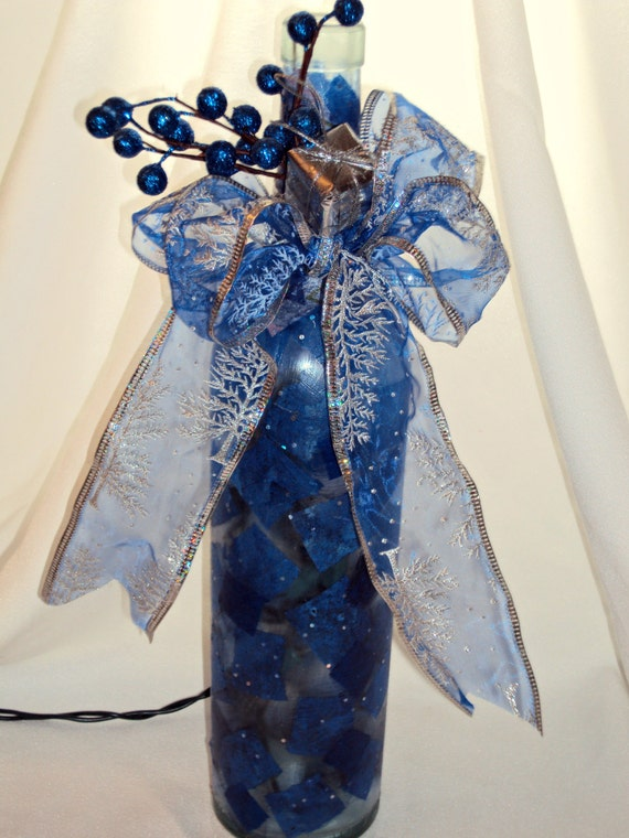 altered recycled repurposed upcycled wine bottle with etsy - I Ll Have A Blue Christmas