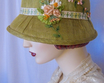 ON SALE/1920's Sinamay Cloche with Silk Ribbon Embroidery