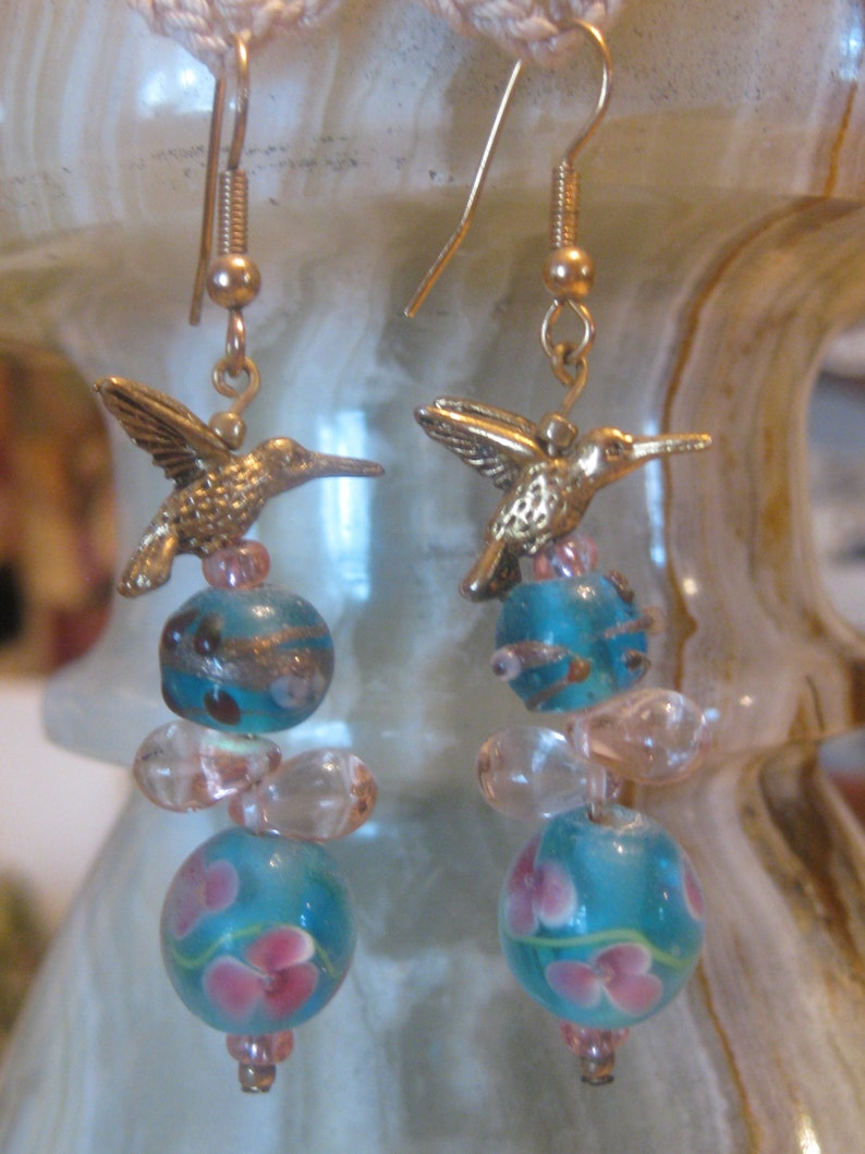 Hummingbird and Lampwork Bead Earrings