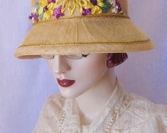 ON SALE/Lady Violet Sunflowers Sinamay Cloche with Silk Ribbon Embroidery