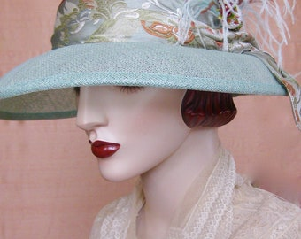 ON SALE/Celadon Sinamay Cloche with  Hat Pin