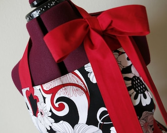 Red, Black, and White Woman's Full Ruffled Apron