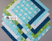 25-5 quot Teal_Green Flower Fabric Squares Quilt Craft Sew Charm Packs 5614
