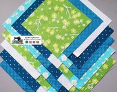 25-5 quot Teal_Green Flower Fabric Squares Quilt Craft Sew Charm Packs 5619