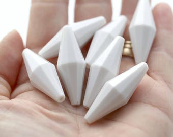 Vintage Lucite White Faceted Bicone Beads 36mm (8)