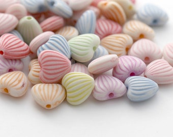 Ribbed Etched Heart Opaque Acrylic Heart Beads Mix 11mm (50)