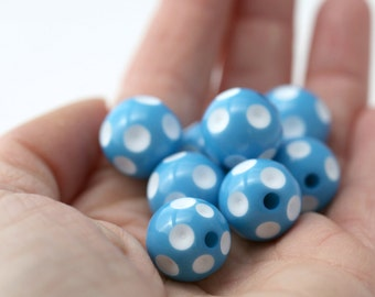 Blue White Dimpled Polka Dot Acrylic Beads 16mm (8)