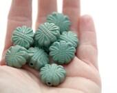 Vintage Verdigris Bumpy Textured Etched Lucite Flat Oval Matte Flower Beads Patina 19mm (8)