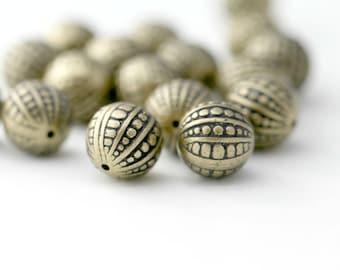Antique Bronze Acrylic Bumpy Round Beads 12mm (16)