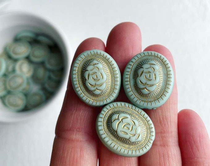 Etched Acrylic Beads Pale Minty Blue Mint Green Gold Acrylic Oval 21mm (10)