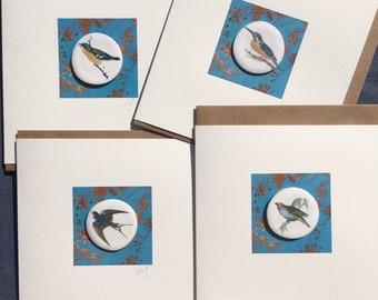 Set of 4 bird ceramic greeting cards