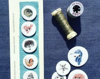 Set of 5 seaside porcelain buttons
