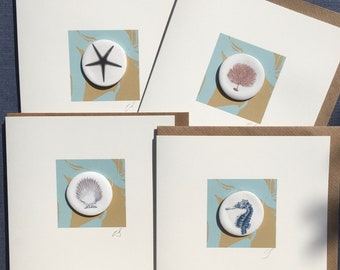 Set of 4 coastal ceramic greeting cards