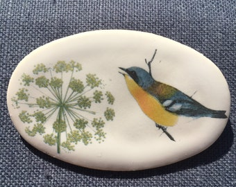 Bird and allium porcelain brooch