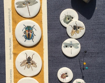 Set of 4 Large porcelain insect buttons