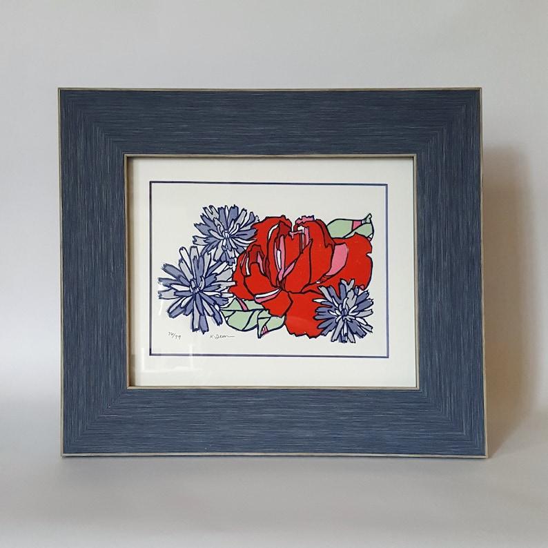Red Rose Linocut Framed Art Print Small Framed Red Botanical Framed