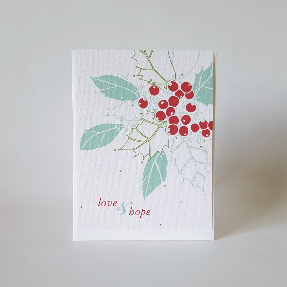 Love And Hope Holly Christmas Card Elegant Winter Snow Etsy