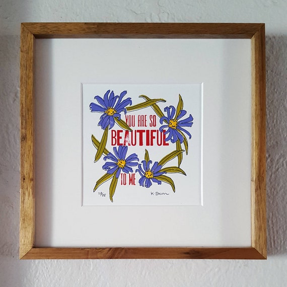 You Are Beautiful Bathroom Artwork Framed Bathroom Small Art Etsy
