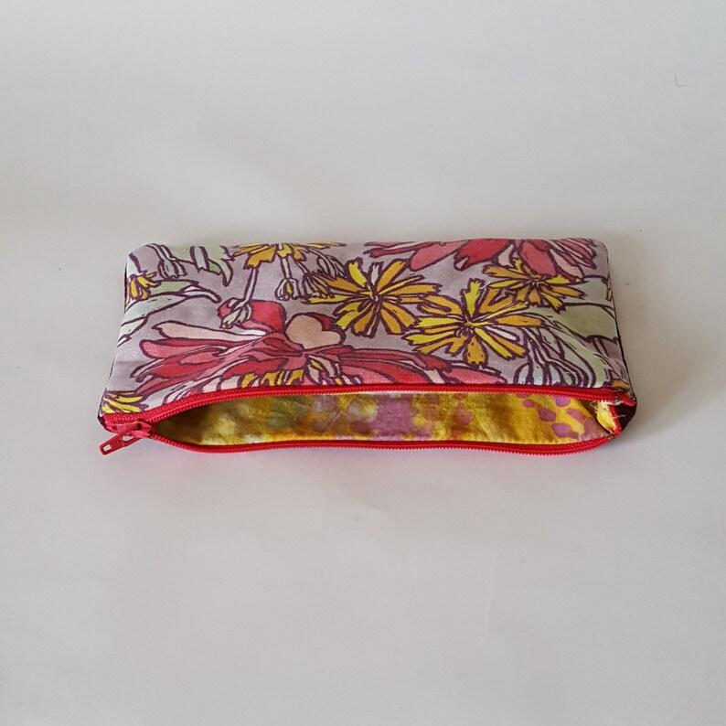 d1b3ca74ebad Small Zipper Pouch Floral Makeup Bag. Soft Pencil Case or