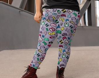 Happy Game Controllers Purple Plus Size Leggings