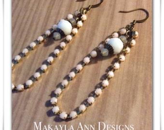 Rhinestone Pearl Dangle Earrings