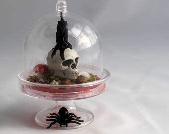 Mini Memento mori, miniature skull and candle, gothic miniature