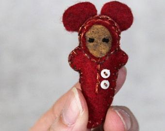 Pocket baby gnome, mouse ears, felt gnome, pocket doll