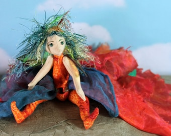 One of a kind cloth art doll, Soft sculpture, Anu the fairy ooak